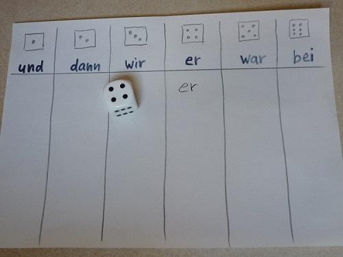 Bild Wörter würfeln und schreiben