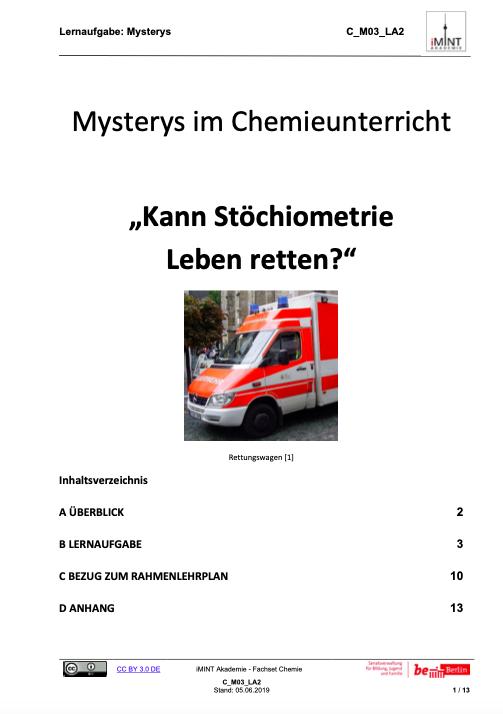 Cover Unterrichtsmaterial Stöchimetrie