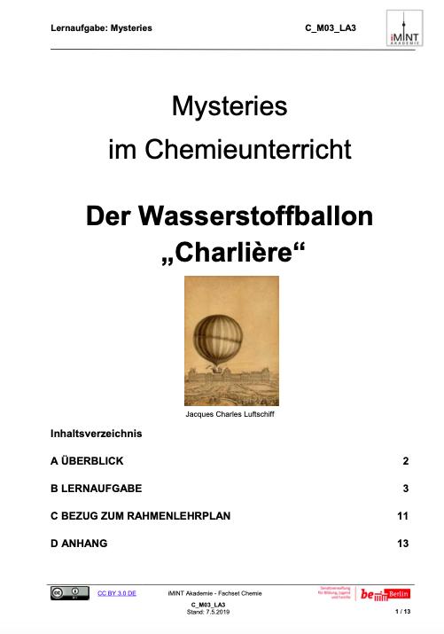 Cover Unterrichtsmaterial Wasserstoffballon